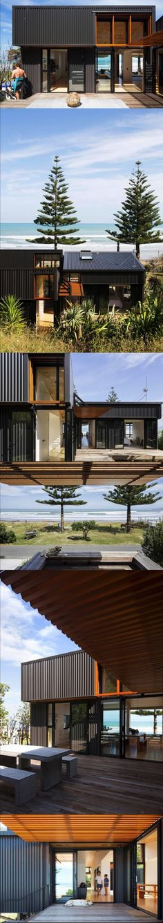 Shed House, Irving Smith Architects, Gisborne, New Zealand Shed Homes, Prefab Homes, H Design, House Design, Residential Architecture, Interior Architecture, Exterior Design, Interior And Exterior, Villa
