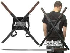Twin Ninja Sword Set with leather cord wrapped handles and adjustable leather backstrap