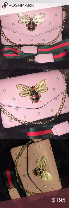 Super gorgeous Pearly bee pink Handbag NWOT Wow!!! Who doesn't love and know the Gucci bee? You can own this bag for 10% of what the retail price is on the original . Beautiful leather and beautiful jeweled bee .  Please don't ask the obvious 💙 Tagged for exposure🤗 Gucci Bags