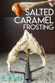 Salted caramel frosting is my favorite! It's the perfect combination of salty and sweet in this salted caramel buttercream icing--delicious on vanilla, chocolate, pumpkin, spice cakes, and more. Easy Homemade Desserts, Homemade Cake Recipes, Best Cake Recipes, Tart Recipes, Dessert Recipes, Favorite Recipes, Best Frosting Recipe, Homemade Frosting, Frosting Recipes