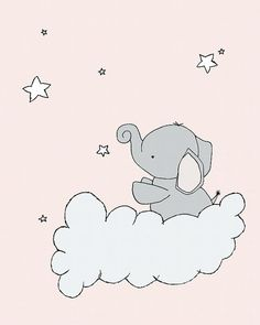 Elephant Nursery Art Pink and Gray Nursery por SweetMelodyDesigns
