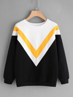 Drop Shoulder Chevron Pattern SweatshirtFor Women-romwe