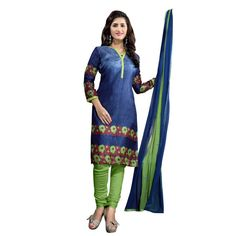 Lovely Blue and Green Coloured Printed Unstitched Bhagalpuri Silk Dress Material With Dupatta  On Smartdeals4u.com