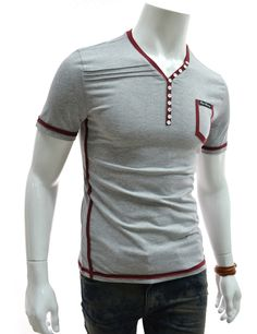 Slim Fit 2 Tone Button Point V-neck Short Sleeve Tshirts Polo Shirt Outfits, Polo T Shirts, Big Men Fashion, Men's Fashion, Casual Shirts For Men, Men Casual, Mens Shirt Pattern, Sleeves Designs For Dresses, African Shirts
