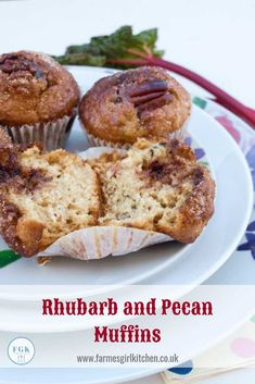 Rhubarb and Pecan Muffins are probably the nicest rhubarb muffins I've tasted. Soft sweet muffin filled with sharp rhubarb, crunchy pecans and topped with cinnamon sugar, so delicious, so easy to make Muffin Recipes, Baking Recipes, Dessert Recipes, Bread Recipes, Kitchen Recipes, Brunch Recipes, Rhubarb Muffins, Rhubarb Cake, Great British Food