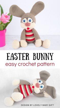 Easter Crochet Patterns, Crochet Bunny Pattern, Amigurumi Patterns, Knitting Patterns, Diy Crochet Amigurumi, Easy Crochet, Single Crochet Stitch, Easter Table, Crochet Basics