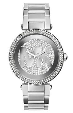 MICHAEL Michael Kors Michael Kors 'Parker' Pavé Logo Dial Bracelet Watch, 39mm available at #Nordstrom