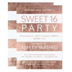 Modern faux rose gold stripes Sweet 16 party Card