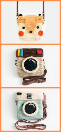 I love these crochet camera bags I found on Etsy. Fox camera and other designs available #ad #Etsy #fox #camera #bag