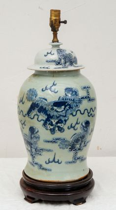 View this item and discover similar for sale at - Large antique blue & white porcelain Chinese temple jar lamp with cobalt blue Fu Dogs on celadon background and teak base. Ginger Jar Lamp, Ginger Jars, Indian Dolls, Fine Porcelain, Colorful Decor, Tea Cups, Bulb, Chinese, Blue And White