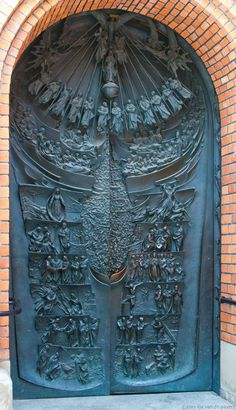 Interesting door to the Cathedral in Tarnow, Poland. This wonderful door appears to tell the story of the gospels.I ♥ TARNOW Cool Doors, Unique Doors, Knobs And Knockers, Door Knobs, Entrance Doors, Doorway, Porte Cochere, When One Door Closes, Door Gate