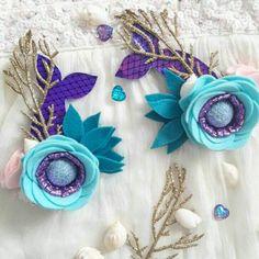 Little Mermaid /Flower Crown /Ariel felt flower headband /