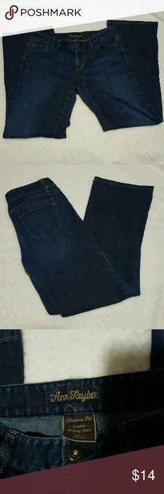 Ann Taylor Lindsay Waist 6 Petite Excellent condition! They're pretty much new. Dark wash with modern fit. 98% cotton and 2% spandex  Waist is 15 inches laying flat. They have stretch to them. Rise is 8 inches Inseam is 29 1/2 inches Ann Taylor Jeans