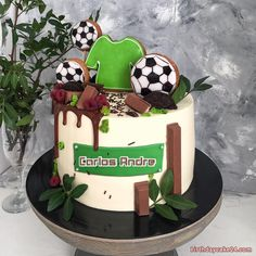 Football Birthday Cake With Name And Age Boys 18th Birthday Cake, Football Birthday Cake, Special Birthday Cakes, Sports Birthday Cakes, Camping Theme Cakes, Sport Cakes, Soccer Cakes, Christening Cake Girls, Dad Cake