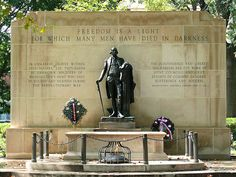 """The Tomb of the Unknown Revolutionary War Soldier is a war memorial located in Washington Square in Philadelphia, Pennsylvania. It honors the thousands of soldiers who died during the American Revolutionary War, many of whom were buried in mass graves in that park. The plaque on the tomb reads: """"Beneath this stone rests a soldier of Washington's army who died to give you liberty."""""""