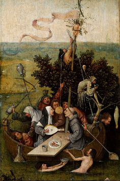 Hieronymus Bosch - The Ship of Fools (Louvre Museum) ヒエロニムス・ボス Renaissance Kunst, Arte Tribal, Garden Of Earthly Delights, Dutch Painters, Medieval Art, Oeuvre D'art, The Fool, Les Oeuvres, Art History