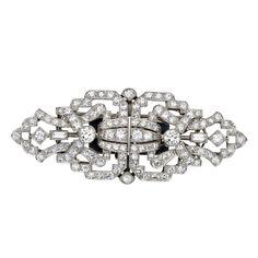 Art Deco Platinum and Diamond Dress Clips, Convertible to a Pin  Circa 1920