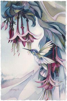 Bergsma Gallery Press::Paintings::Nature::Birds::Hummingbirds::Hum For Joy - Prints