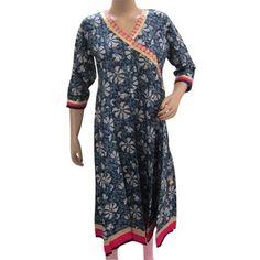 Amazon.com: Blue Kurta Tunic Shirt Cotton Long Kurti Anarkali Style Dress Womens Clothing Medium Size: Clothing