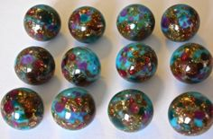 12 Antique Paperweight Buttons, Turquoise Glass with Beautiful Colors