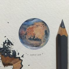 "Day 5/100 (2/25 Mondays) : Named after the Roman god of war, Mars is often described as the ""Red Planet"" because the iron oxide prevalent on its surface gives it a reddish appearance. 28 x 28 mm. SOLD.  #paintingsforants #potluck100pfa #microcosmmondays #miniature #watercolor #art #mars"