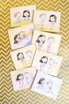 Send a story: ice cream date card box set – le petit elefant Illustration Story, Couple Illustration, Cute Couple Drawings, Cute Drawings, Love Cartoon Couple, Handmade Rakhi, Cute Crafts, Creative Crafts, Simple Cartoon