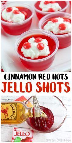 Cinnamon Red Hot Jello Shots - Crafty Morning Cinnamon Red Hot Jello Shots - Crafty Morning Make these yummy cinnamon red hots jello shots! Cherry Jello Shots, Best Jello Shots, Jello Pudding Shots, Jello Shots With Fireball, Jello Shooters Recipe, Summer Jello Shots, Strawberry Shots, Frozen Desserts, Pina Colada