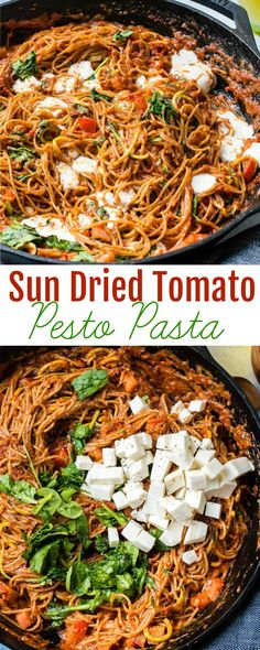 This sun dried tomato pesto pasta with zoodles is a great vegetarian main dish with gooey mozzarella cheese, and an easy recipe to get kids to eat veggies. Wheat Pasta Recipes, Pesto Pasta Recipes, Zoodle Recipes, Spiralizer Recipes, Pesto Recipe, Vegan Pasta, Pesto Spinach, Tomato Pesto, Vegetarian Main Dishes
