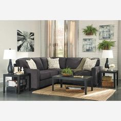 2pc Charcoal Sectional With Laf Sofa