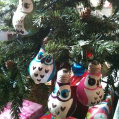 Pinterest made me do it... Recycled lightbulb owl ornaments