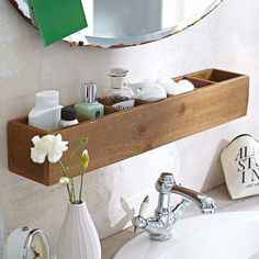 a small bathroom shelf over the sink as an organizer #interiordecoronabudgetbeautifulhomes