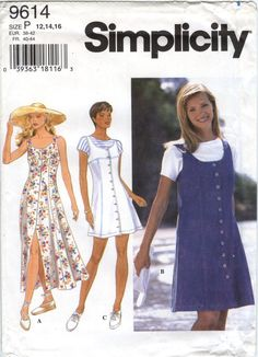 Simplicity 9614 Misses'/Miss Petite Dress or Jumper and Top