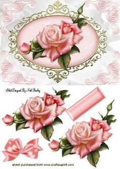 BEAUTIFUL PINK EDWARDIAN ROSE WITH BOW on Craftsuprint designed by Nick Bowley - BEAUTIFUL PINK EDWARDIAN ROSE WITH BOW, Makes a pretty card - Now available for download!: