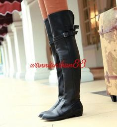 Women's Lady Faux Leather Over The Knee High Boot Flat Belt Buckle Boots Shoes