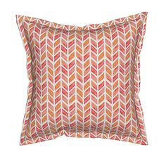 Serama Throw Pillow featuring Watercolor Herringbone in Solid Pinks by emilysanford