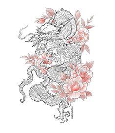 New dragon tattoo design! Asian Tattoo Girl, Asian Tattoos, Arabic Tattoos, Dragon Tattoo Designs, Flower Tattoo Designs, Flower Tattoos, Dragon Sleeve Tattoos, Arm Tattoo, Samoan Tattoo