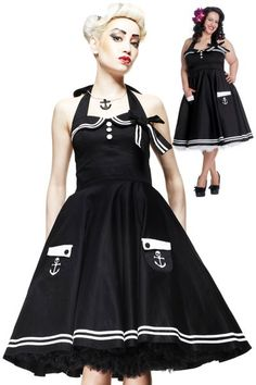 Motley's Nautical Sailor Black and White 50's Dress