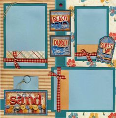 VACATION TRAVEL SAND ~ 2 premade scrapbook pages 12x12 BY CHERRY
