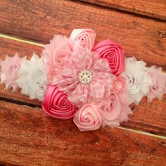 Pink Flowered Maternity Sash - Pregnancy, Photo Prop, Newborn, Maternity, Pink on Etsy, $26.95