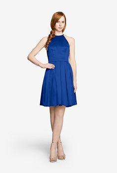 "Brides.com: . ""Perry,"" knee-length satin dress, $145, Gather & Gown"