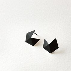 Sterling Silver Stud Earrings Small Geometric Silver by RawObjekt