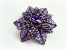 - Sparkle Purple Swarovski Rivoli Seed Beads Peyote Stitched Brooch.