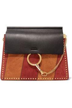 51329d2d1aed Chloé - Faye Medium Studded Suede And Leather Shoulder Bag - Black Faye Bag