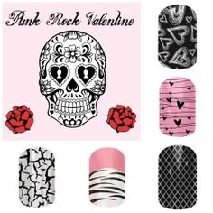 A collection of punk rock/goth type valentines day nail wraps from Jamberry nails. Buy 3, get 1 free! http://getfreewraps.jamberrynails.net On FB: http://www.facebook.com/getfreewraps