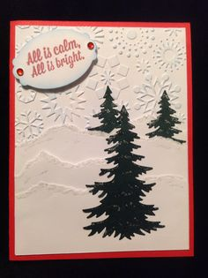 Cottage Cutz Rustic Sign & Trees with Cuttlebug snowflakes embossing folder