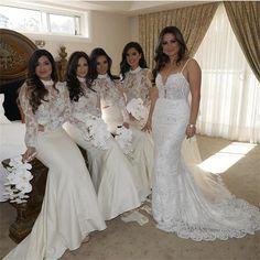 732da5d1c12 Long Sleeves High Neck Lace See-through Sexy Bridesmaid Dresses