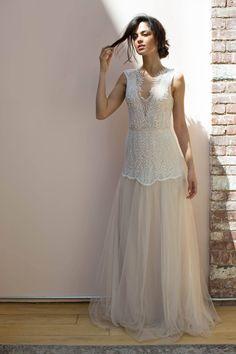 Limor Rosen Eve Gown   Romantic wedding dress, illusion back wedding dress, back detail wedding dress, tulle wedding gown, delicate beaded wedding gown, boho wedding gown, blush wedding gown