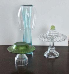 Thrift store garden mushrooms!  Must make these!  #gardening #DIYprojects #crafts