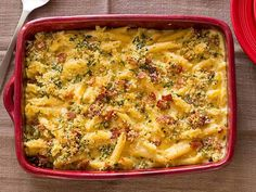"Guy calls this his ""Mac Daddy"" macaroni and cheese, and since it's loaded with two kinds of cheeses, crispy bacon and buttery breadcrumbs, it's surely a fitting name for the dish. #RecipeOfTheDay"