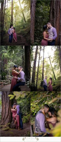 Engagement Photography Poses by Elk Grove Photography - Natural Light - Posing Ideas for Engagement or Couples Photo Session. Unposed Engagement Photography. Photography Outfit Ideas and Color Palettes. Muir Woods, CA.